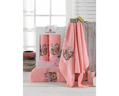 BUTTERFLY персиковый Набор махровых полотенец 2х предметный