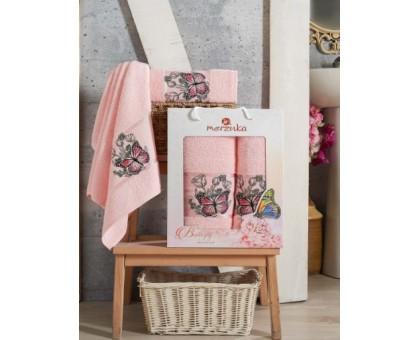 BUTTERFLY светло-розовый Набор махровых полотенец 2х предметный