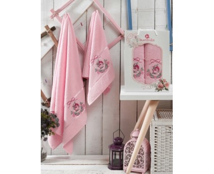 Набор махровых полотенец 2х предметный ROSE светло-розовый