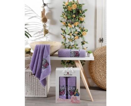 BUTTERFLY лиловый Набор махровых полотенец 2х предметный
