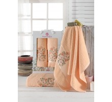 FLORAL персиковый Набор махровых полотенец 2х предметный
